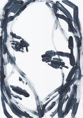 050 , acrylic on paper , 29.7 x 21cm , Selina Saranova