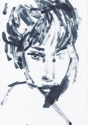 062 , acrylic on paper , 29.7 x 21cm , Selina Saranova