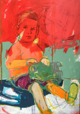 boy with train2 135x95cm acrylic on canvas