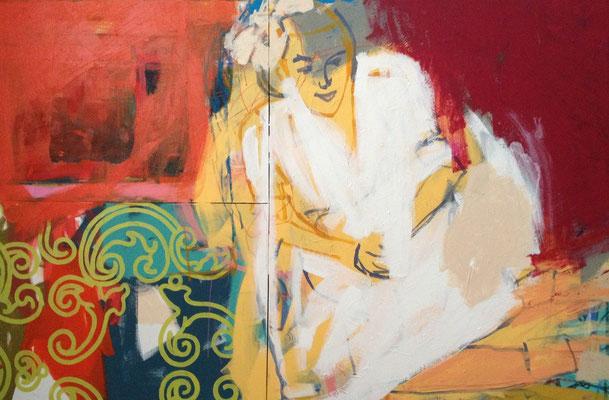 hiding something, 120x160cm. acrylic on canvas