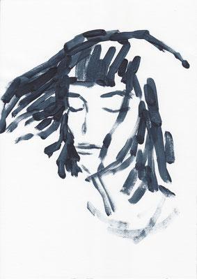 003 , acrylic on paper , 29.7 x 21cm , Selina Saranova