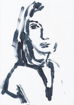 056 , acrylic on paper , 29.7 x 21cm , Selina Saranova