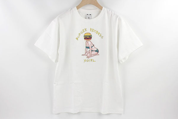 【GS203】X-girl × BURGER RECORDS BURGER HEAD GIRL BIG S/S TEE (WHITE) ¥5,000 +tax
