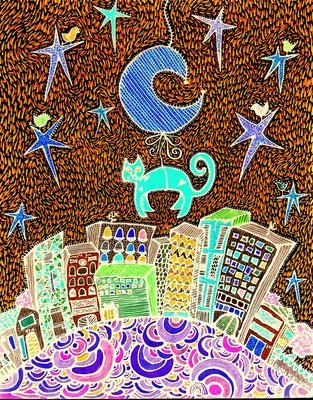 City Cat © 2014 Sandra Pérez Ramos (Mixed media).