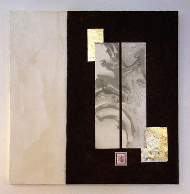 quadro in cartapesta foglia oro e suminagashi