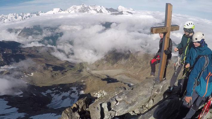 Zweiter 4000er, nach der Weissmies-Überschreitung haben wir noch das Lagginhorn über die Normalrote bestiegen (von der Weissmieshütte über den Westsüdwestgrat)
