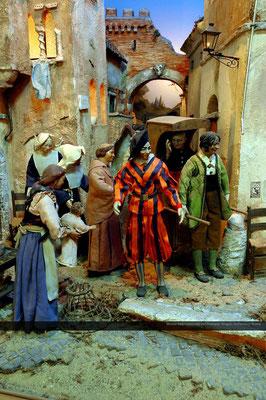 Presepio ambientato nella Roma ottocentesca_ispirato acquerelli Ettore Roesler Franz_progettazione Alberto Finizio