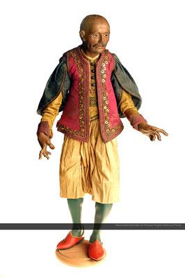 figura del corteo dei Magi (sec XVIII) testa e arti in legno con abiti in stoffa_Napoli
