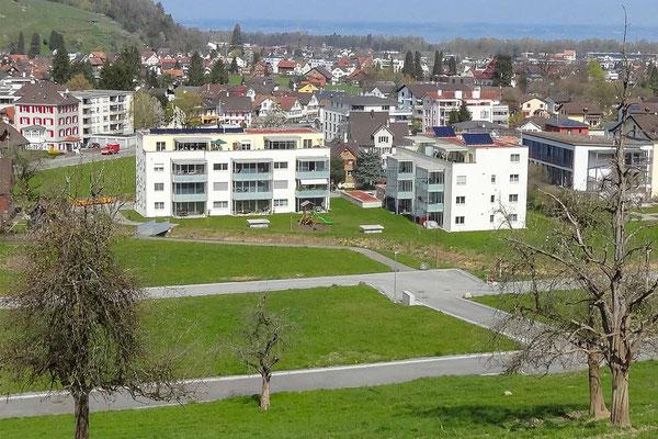 Wohnerlebnis «SunneThal». Im Hintergrund der Bodensee
