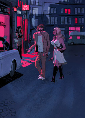 Aufmacher-Illustration für Kurzgeschichte - Thema: Bordellbesuch - Magazin: Playboy
