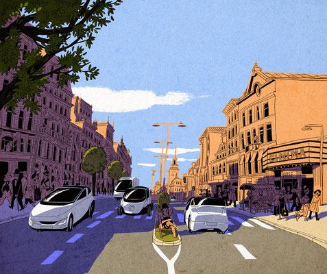 Illustration für die Wochenendausgabe der Süddeutschen Zeitung - Thema: Elektromobilität und die Stadt der Zukunft