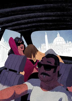 Aufmacher-Illustration für Kurzgeschichte - Thema: Rom - Autor: Altmann - Magazin: Playboy