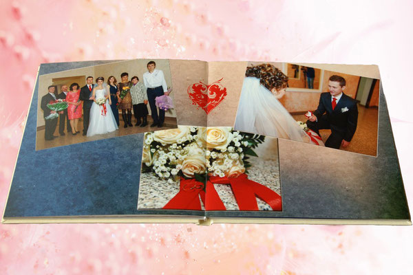 разворот свадебной фотокниги - заказ дизайна и печати в Харькове
