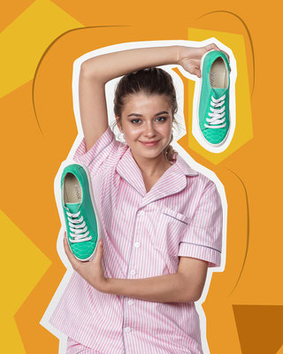 модельная фотосъемка обуви в стиле Flat Lay