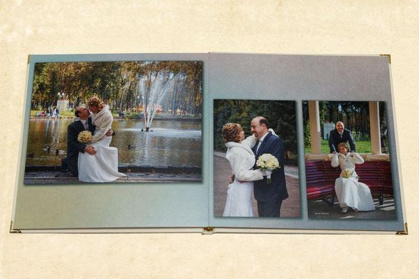 разворот свадебной фотокниги - дизайн макета и печать в Харькове, заказ по тел 0503029168