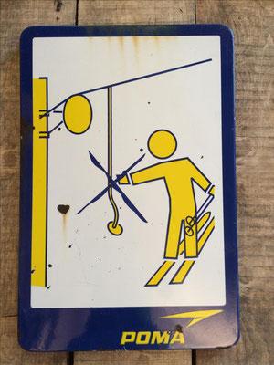 Panneau ski vintage altipic ref 027 avec pied + embase acier RESERVE