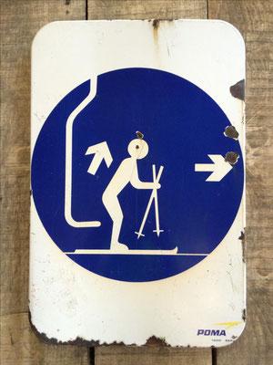 Panneau ski vintage altipic ref 029 avec pied + embase acier RESERVE