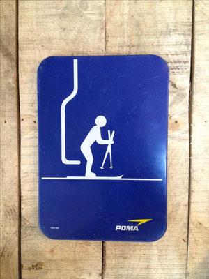 Panneau ski vintage altipic ref 012   avec pied + embase acier  RESERVE
