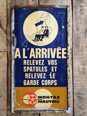 Panneau ski vintage altipic ref 015  avec pied + embase acier  RESERVE