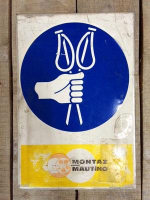 Panneau ski vintage altipic ref 040 avec pied + embase acier RESERVE