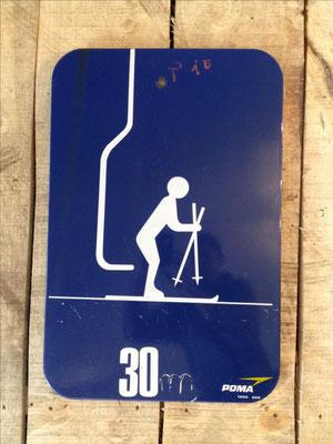 Panneau ski vintage altipic ref 039 avec pied + embase acier RESERVRE