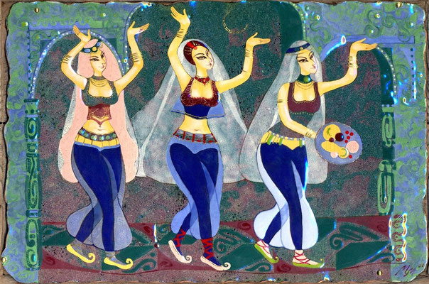 OFFERING  copper, hot enamel, 2011 Three girls Oriental beauties Thousand and One Nights Harem  ПОДНОШЕНИЕ медь, горячая эмаль