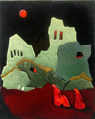 GROZNY  Painting Bright gamma Destruction of war. Silhouettes of people. Red moon. copper, hot enamel, 25x20cm 2000  ГРОЗНЫЙ   медь, горячая эмаль,  25Х20см