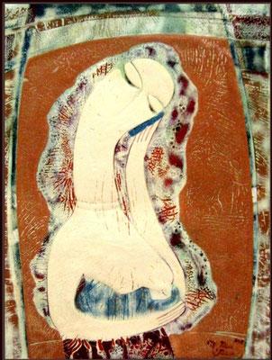 NEW MADONNA copper, hot enamel, 2013 Maternity Mom and baby Breastfeeding Talking on the phone НОВАЯ МАДОННА  медь, горячая эмаль, 2013 г