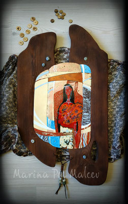 Painting FORBIDDEN LOVE Africa Ethno style Modern painting Unusual Decor art Hand-made wood Hot enamel on copper Metalworking Warm colors