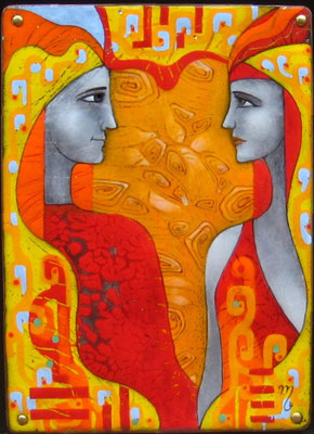 DIALOGUE  Painting  Two in profile Red-orange gamma He and she Ornament Love smooth lines Heat  copper, hot enamel, 2010    ДИАЛОГ  медь, горячая эмаль