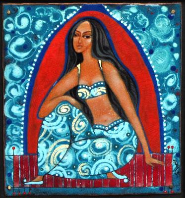 EAST BEAUTY (from the series - Women of the World)  copper, hot enamel 2007 ВОСТОЧНАЯ КРАСАВИЦА (из серии - Женщины Мира)  медь, горячая эмаль