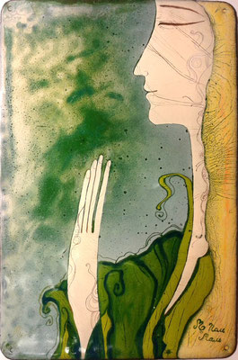MEDITATION   Painting Female face Enlightenment Spiritual journey Joy Feeling of peace Nature Green-yellow gamma copper, hot enamel  2014   МЕДИТАЦИЯ   медь, горячая эмаль