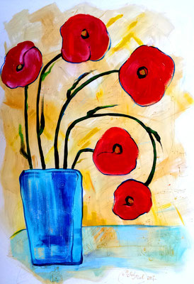 "Painting ""Poppies in a glass vase"" сardboard, acrylic, 80x60 cm, 2004   Created by Marina Pol-Malcev   Живопись ""Маки в стеклянной вазе"". Картон, акрил, 80Х60 см, 2004"