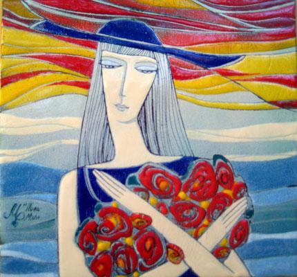 SPA ROMAN copper, hot enamel,  Girl with a bouquet of Roses and love Short romance on the sea   2011  КУРОРТНЫЙ РОМАН    медь, горячая эмаль, 2011