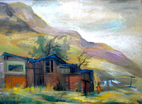 "Painting ""Before the storm"" сardboard, acrylic, 40x40 cm, 2005  Created by Marina Pol-Malcev.      Перед грозой. Картон, акрил, 40Х40 см, 2005"