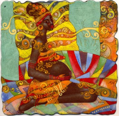 Wall panel CREATION  Painting Copper Hot enamel Africa woman pregnancy Rainbow color Stylish decor interior Bioforms Nature RelaxingТВОРЧЕСТВО   медь, горячая эмаль