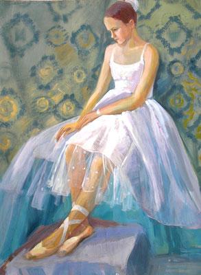 "Painting ""Ballerina""  сardboard, acrylic, 80x60 cm, 2004  Created by Marina Pol-Malcev   Балерина. Картон, акрил, 80Х60 см, 2004"
