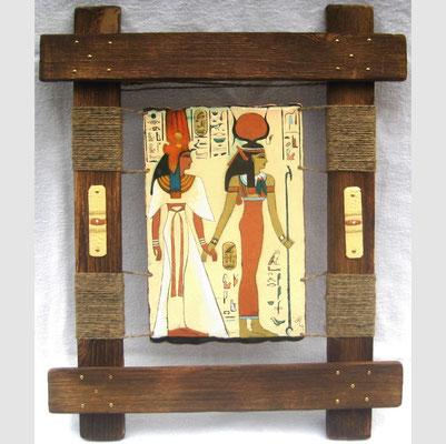 ISIDA AND NIFERTITI (Egypt triptych part 2) copper, hot enamel, hand-made wood, hemp, 2010 ИЗИДА И НИФЕРТИТИ (2 часть триптиха Египет)    медь, горячая эмаль, дерево ручной обработки, пенька, 2010 г