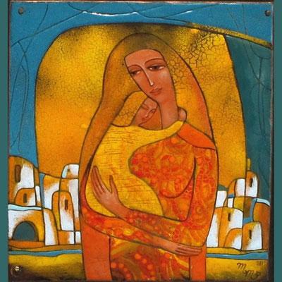 MOM AND SON copper, hot enamel  2011   МАМА И СЫНОК медь, горячая эмаль