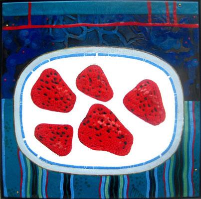 Still life IN CREAM hot enamel on copper 2007 Strawberries in a plate Strawberries with cream Bright range Натюрморт В СЛИВКАХ горячая эмаль на меди  2007