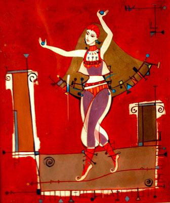 "Dancer. Acrylic on canvas, 40x30 cm, 2005  Created by Marina Pol-Malcev     Живопись ""Танцовщица"" холст, акрил, 40Х30 см, 2005 г."