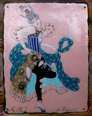 DANCER, Dedication to Bakst, copper, hot enamel, wood, manual processing, 2010  ТАНЦОВЩИЦА, ПОСВЯЩЕНИЕ БАКСТУ   медь, горячая эмаль, дерево ручной обработки