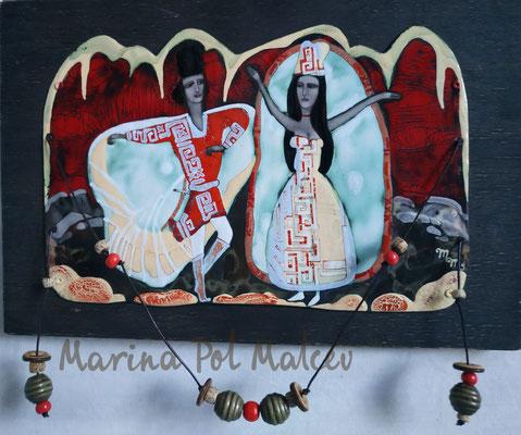 WEDDING DANCE hot enamel on copper 2011 Caucasian motifs National outfits Wedding He and she Mountains  2011 СВАДЕБНЫЙ ТАНЕЦ горячая эмаль на меди