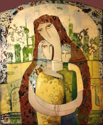 MOST NATIVE Painting Portrait of a family Mom and children Son and daughter Love Soul mates Joy of communication Maternity City of the future Yellow-green gamma Unusual gift  Copper, hot enamel  2014  САМЫЕ РОДНЫЕ    медь, горячая эмаль