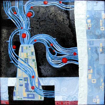 Still life  WINTER.  RUSSIA.  copper, hot enamel, 30x30 cm, 2008 НАТЮРМОРТ ЗИМА. РОССИЯ. медь, горячая эмаль, 30Х30 см, 2008