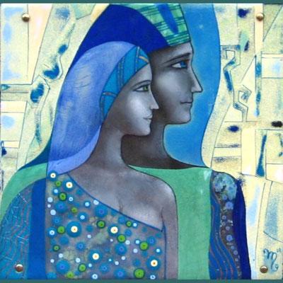 CEREMONY   Painting Two in profile Blue-turquoise gamut He and she Ornament Headgear copper, hot enamel, 2010     ЦЕРЕМОНИЯ  медь, горячая эмаль