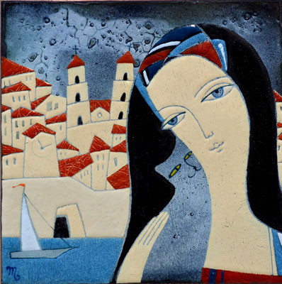 GRAD KOTOR   Painting Portrait of a girl and a cat Friendship Gray cat Brunette Old town Mountains Fortress wall Sea Sailboat   copper, hot enamel 2013   ГРАД КОТОР  медь, горячая эмаль