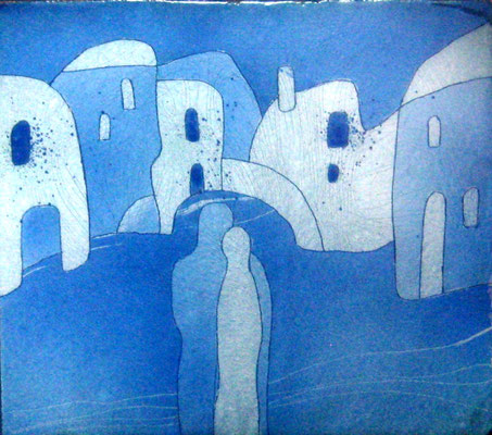 IN THE OLD TOWN   Painting Two blue and blue scale He and she Silhouettes Love Smooth lines Coolness City  copper, hot enamel, 2013  В СТАРОМ ГОРОДЕ  медь, горячая эмаль