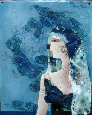 Painting CASSIOPEIA Marina Pol-Malcev Enamel Copper Unique Space Gift Modern style Handmade Beauty Blue White Metalworking Art СreationКАССИОПЕЯ  2012 г,  медь, горячая эмаль