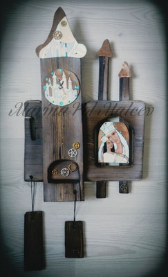 Wall clock MOM AND DAUGHTER Hot enamel on copper Steampunk Gift  Town and two Castle Decorative exclusive Handmade art